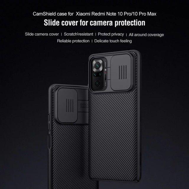 Caso Xiaomi Redmi note 10 c/ proteção da câmera slide - nillkin camshield