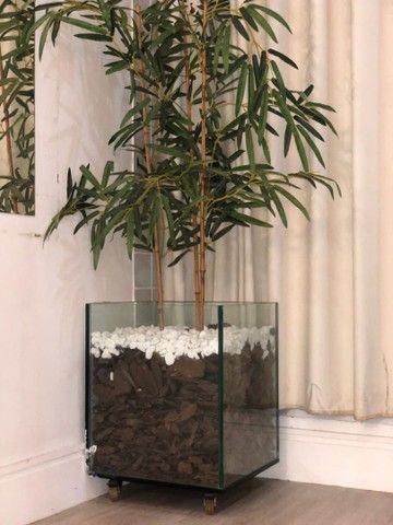 Vendo Vaso vidro 10mm e bambu sintético. - Foto 3