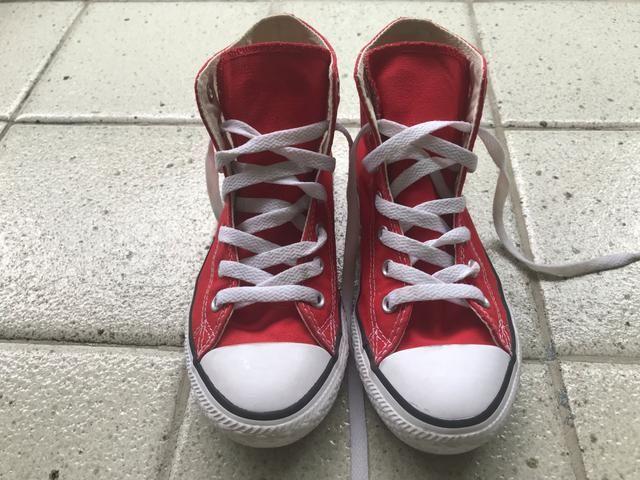 5886c635968 Tenis All Star vermelho cano alto infantil usado 1x numero 2 (usa) 20.5 cm