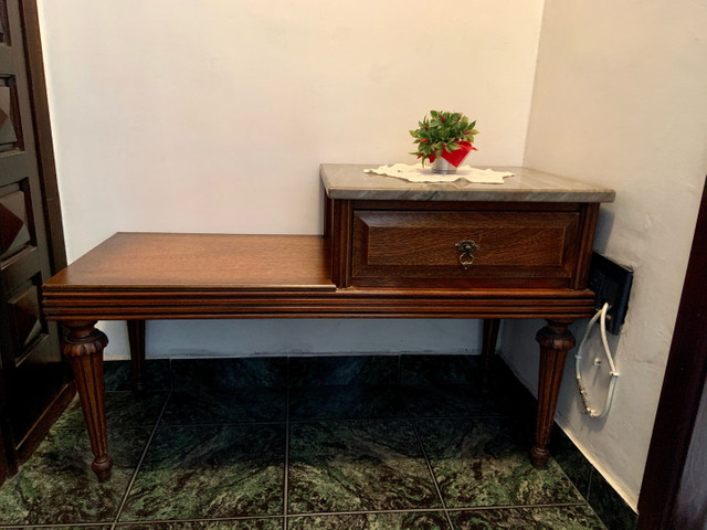 Mesa de telefone com assento e tampo de mármore  - Foto 2