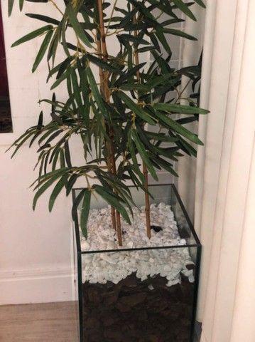 Vendo Vaso vidro 10mm e bambu sintético. - Foto 4