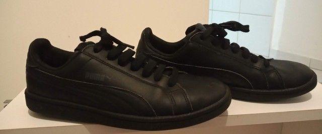 Tênis Puma preto em couro tamanho 36  - Foto 5