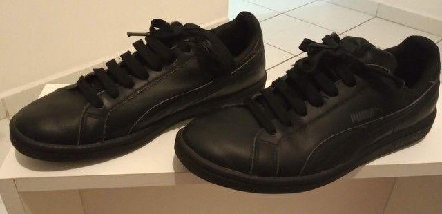 Tênis Puma preto em couro tamanho 36