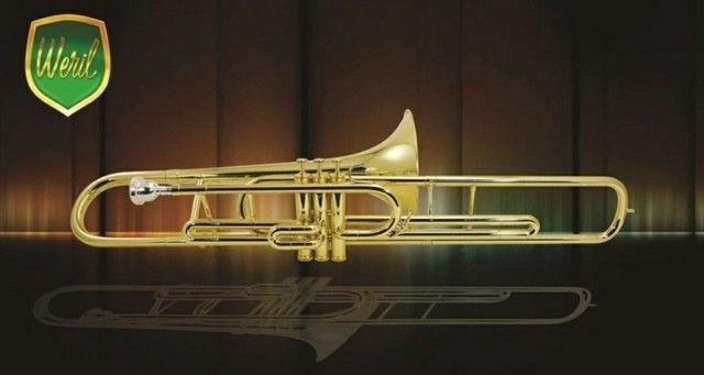 Trmbone novo Weril curto F671 si bemol 5 anos de garantia, espetáculo de instrumento