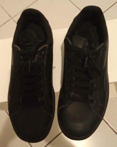 Tênis Puma preto em couro tamanho 36  - Foto 6