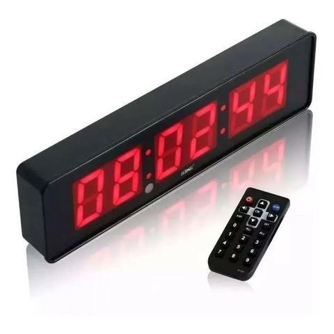 Relógio e Cronômetro Digital de Parede Mesa Led LE-2113 Lelong com Controle Remoto Timer - Foto 4