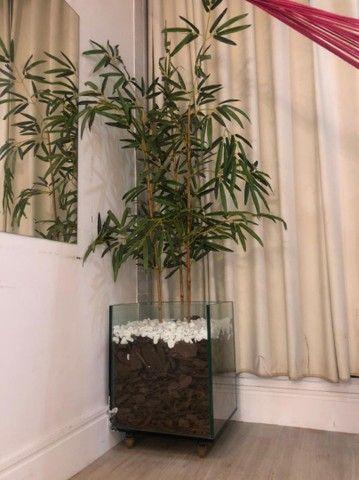 Vendo Vaso vidro 10mm e bambu sintético. - Foto 2
