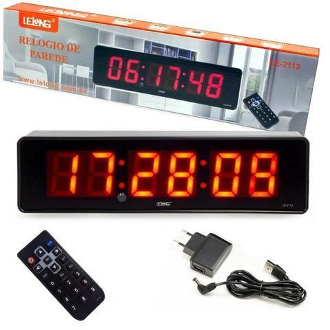 Relógio e Cronômetro Digital de Parede Mesa Led LE-2113 Lelong com Controle Remoto Timer