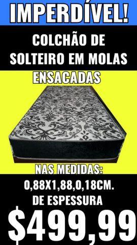 COLCHÃO SOLTEIRO, NOVO,MOLAS ENSACADAS, LEIAM