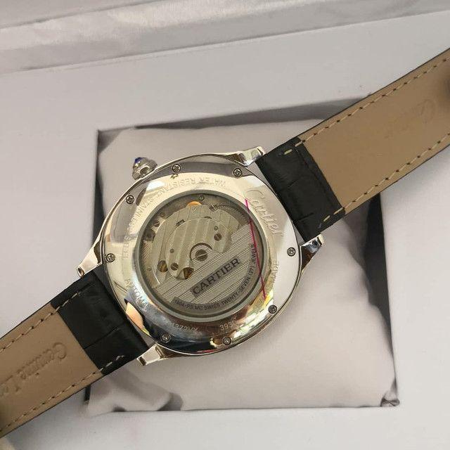 Relógio Cartier de Couro Preto Automático  - Foto 3