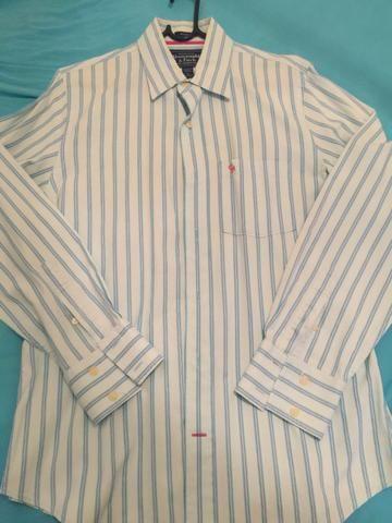 Camisa Social Abercrombie Listrada Original Tamanho L Importada Zerada!