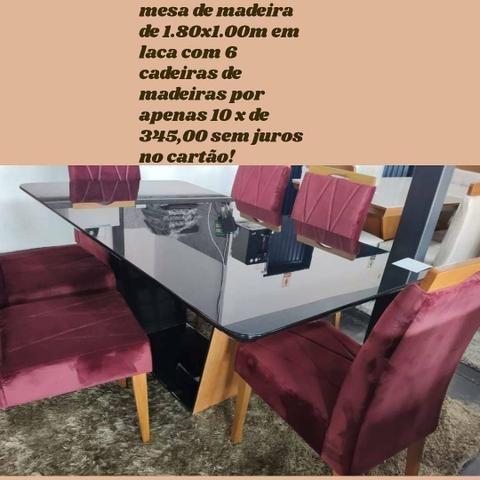 Mesa de 1.80x1.00 de Madeira com 6 cadeiras! 10x de R$ 345,00 no cartão!!