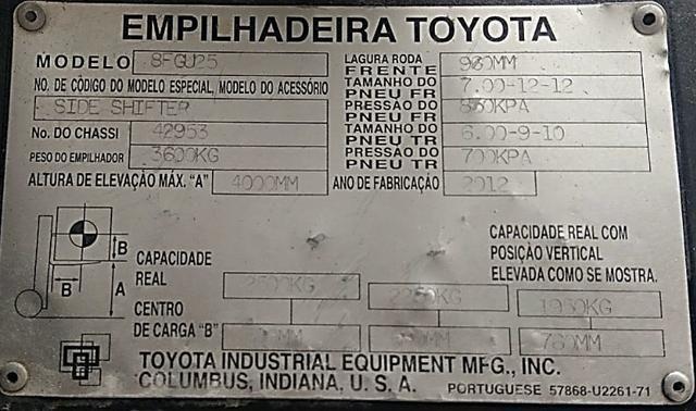 Empilhadeira Toyota 8FGU25 - Foto 4