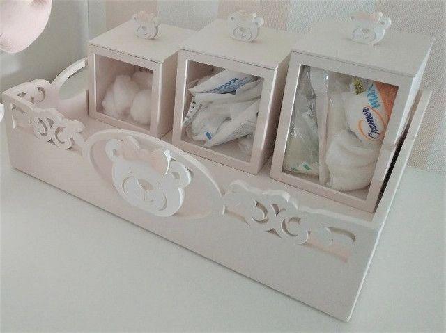 Bandeja Kit Higiene Ursa + 3 potes + Agueiro + Garrafa Térmica. Do ateliê Rita Hosken - Foto 5