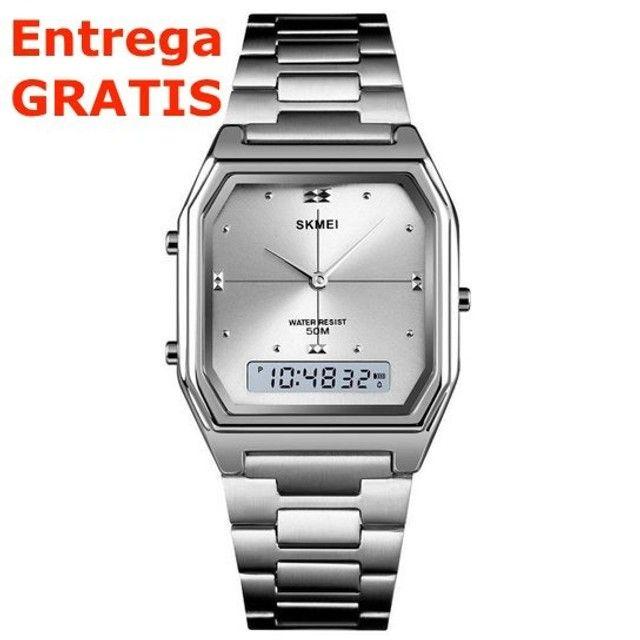Relógio Skmei Digital e Analogico 1612 - Prata / Entrega Grátis / Feminino - Luxo - Fino