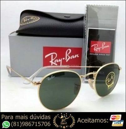 Óculos de Sol Ray Ban Round Tradicional  Dourado Lente Preta RB3447 Novo 799189cd798fb