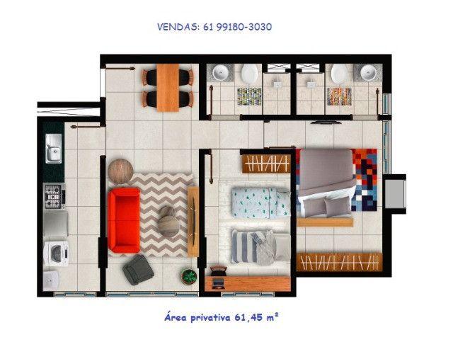 Apartamento de 2 quartos em Samambaia I 61,45 m² - Foto 11