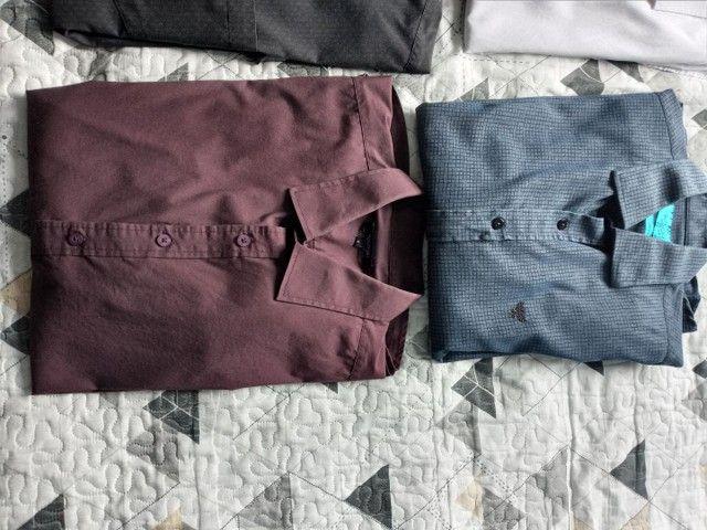 Camisetas Sociais manga longa. Tam g - Foto 5