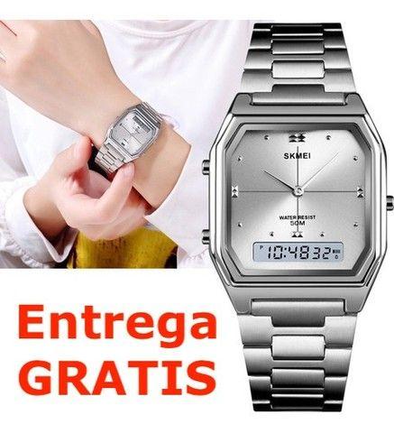 Relógio Skmei Digital e Analogico 1612 - Prata / Entrega Grátis / Feminino - Luxo - Fino - Foto 4