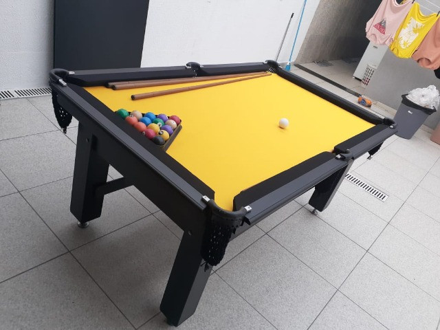 Mesa Tentação Caçapa Redes Cor Preta Tecido Amarelo e Borda Preta Mod. CJQT7166 - Foto 2