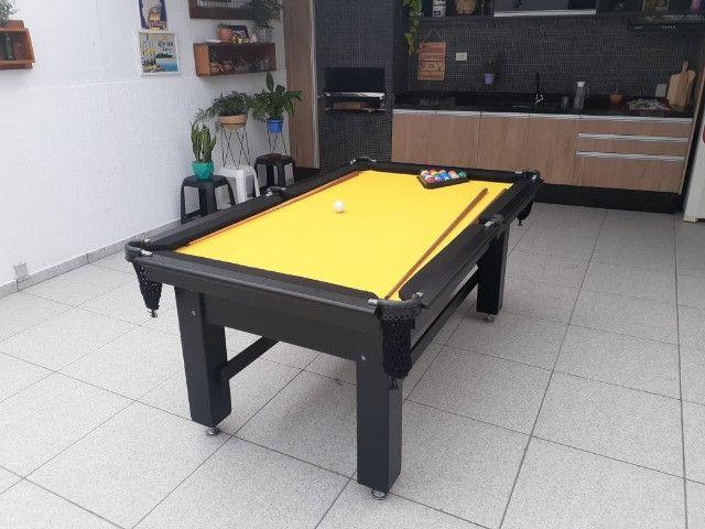 Mesa Tentação Caçapa Redes Cor Preta Tecido Amarelo e Borda Preta Mod. CJQT7166 - Foto 3