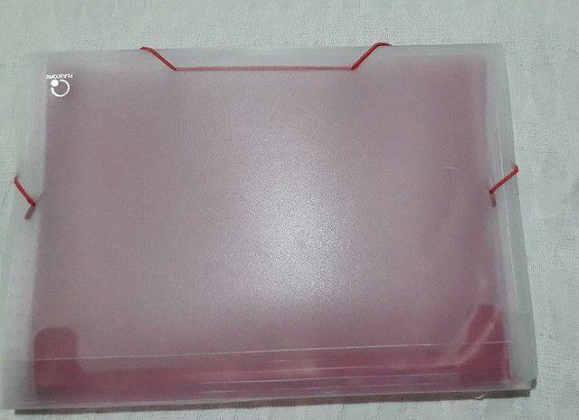 Pasta Sanfonada Plástica A4 12 Divisões Rosa