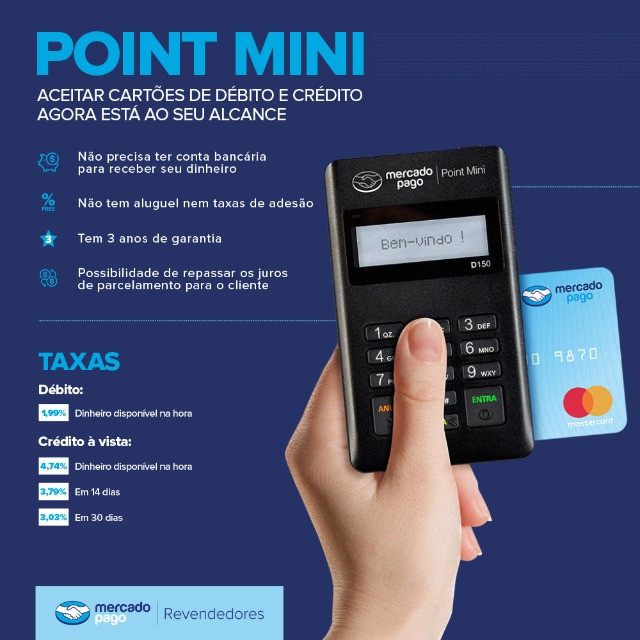 Point Mini Bluetooth - Maquina De Cartão - Do Mercado Pago