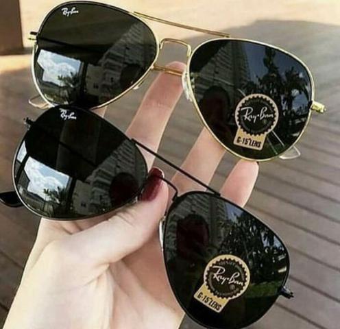 5eb7d8891403f PREÇO IMPERDÍVEL! Óculos de Sol Unissex Ray Ban Aviador! 100% Proteção  UV400!