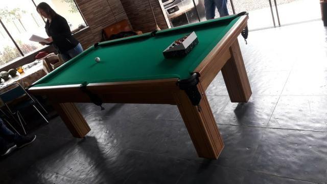 Mesa Madeira Carlin Bilhares | Mesa Cerejeira | Tecido Verde | Modelo: NXNK1577
