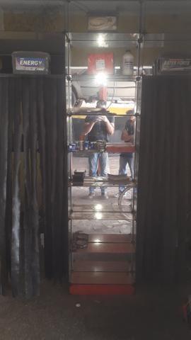 Armário de vidro prateleira espelhada