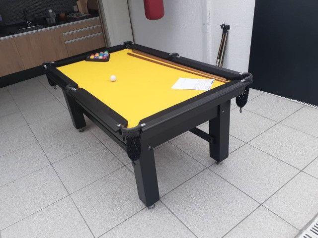 Mesa Tentação Caçapa Redes Cor Preta Tecido Amarelo e Borda Preta Mod. CJQT7166