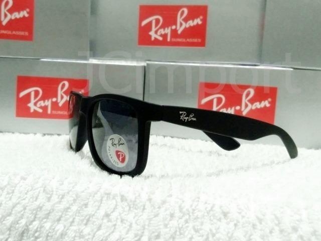 64f9782c33f5e Óculos polarizado de sol com lentes anti reflexo RB Justin Preto fosco