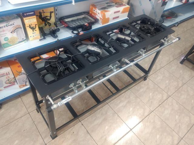 Fogão industrial 4 bocas em linha - 6X sem juros - Foto 4