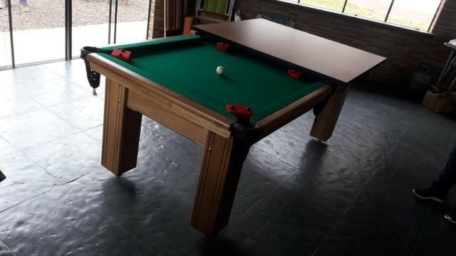 Mesa Madeira Carlin Bilhares | Mesa Cerejeira | Tecido Verde | Modelo: NXNK1577 - Foto 2
