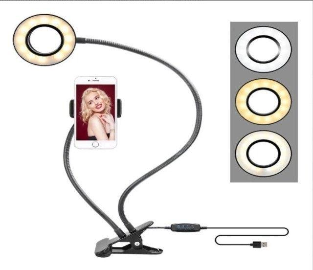 Iluminador Ring Light Suporte Profissional Live Stream Celular e iluminações - Foto 3