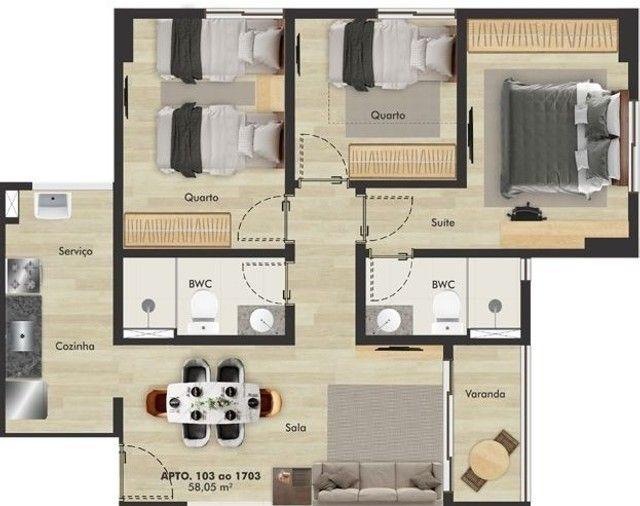 AX- Vendo lindo apartamento - 2 quartos - 44m²- Praça das Amoras - Foto 6