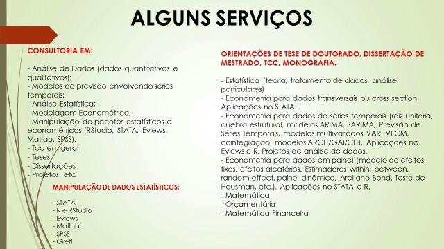 TCC Estatística,Econometria, Finanças, engenharias,contabilidade, Direito etc