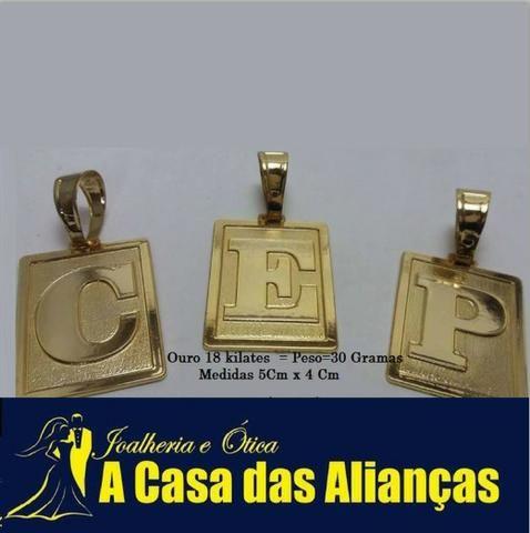 Pingentes letras /ouro 18 kilates / Peso 30 gramas para cordão grosso