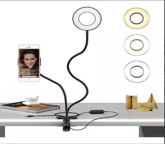 Iluminador Ring Light Suporte Profissional Live Stream Celular e iluminações - Foto 4