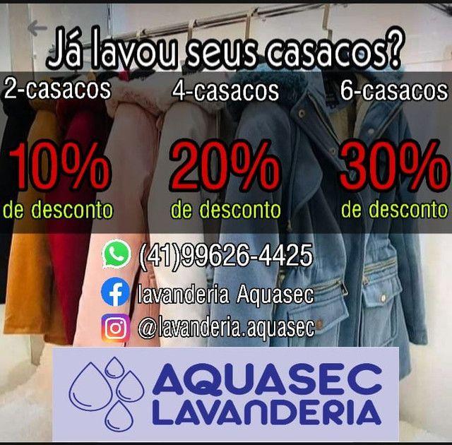 Promoção na lavagem de casacos- Lavanderia Aquasec