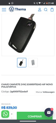CHAVE CANIVETE (VW) 2G6959752AD AIF NOVO POLO/VIRTUS - Foto 5