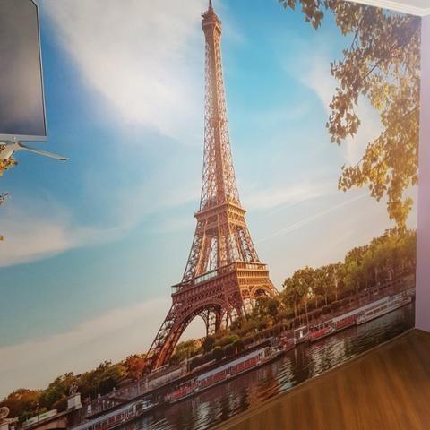 Papel de Parede Fotográfico, Adesivo Personalizado, Torre Eiffel , Londres, New York