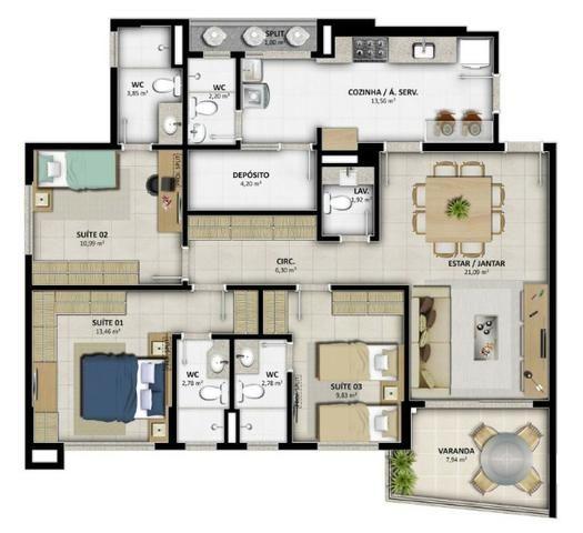 Lançamento Celi - Reserva Alameda - 2 e 3 Qtos c/ até 03 suites - Na Alameda das Árvores - Foto 20