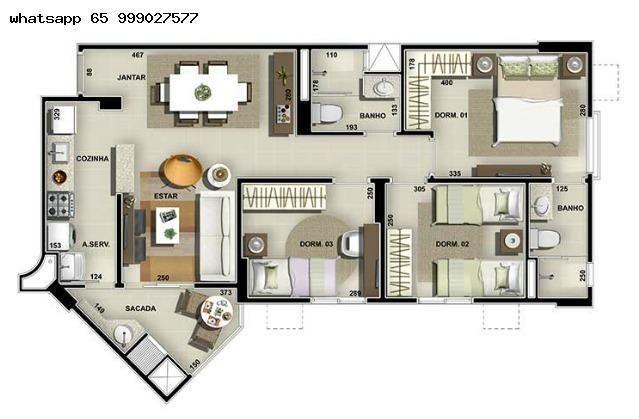 Apartamento para Venda em Cuiabá, Duque de Caxias, 3 dormitórios, 1 suíte, 2 banheiros, 2  - Foto 6