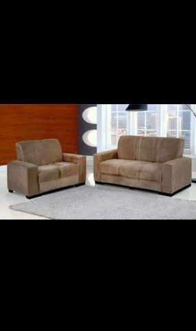 Jogo de sofa tecido de suede novo entrega grátis  - Foto 2