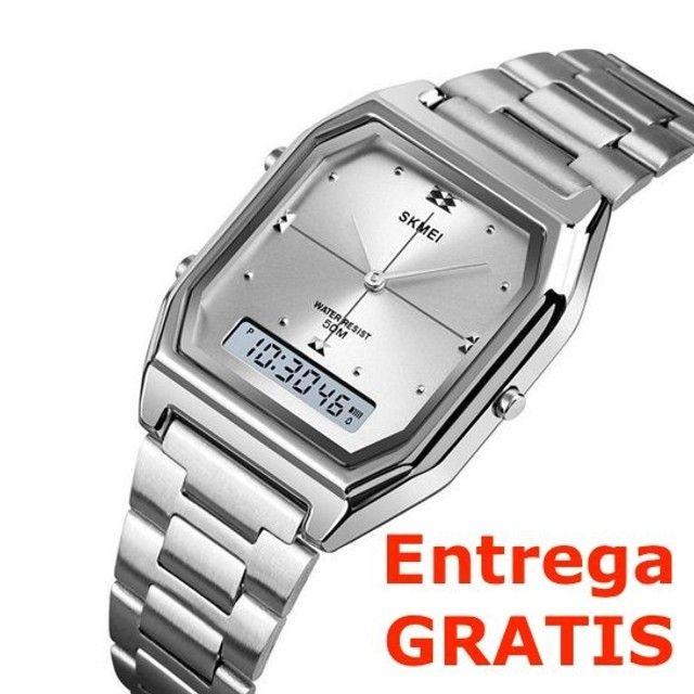 Relógio Skmei Digital e Analogico 1612 - Prata / Entrega Grátis / Feminino - Luxo - Fino - Foto 3