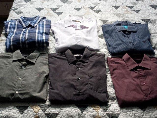 Camisetas Sociais manga longa. Tam g - Foto 3