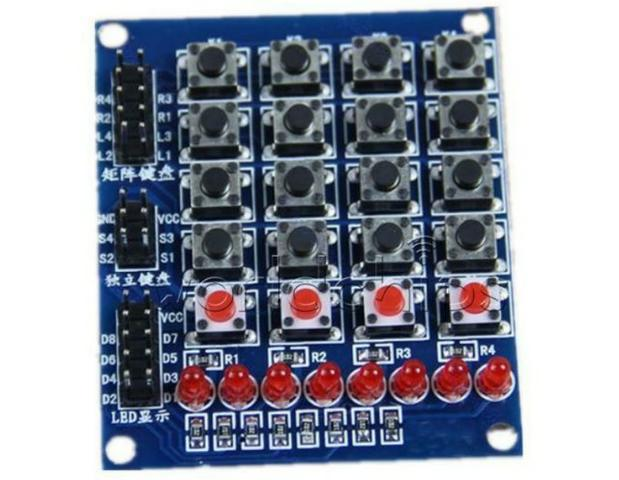 COD-AM244 Teclado 4x4 Matrix Array 16 interruptor de chave Teclado 8 Led 4 Botõe Ardui