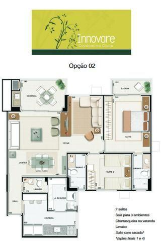 Apartamento Innovare Condomínio Clube com Armários Sol da manhã 2 Vagas Individuais - Foto 3
