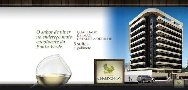 Vende-se Apto no EDF. Chardonnay, 3 suítes + Gabinete, Ponta Verde, 140m². - Foto 10
